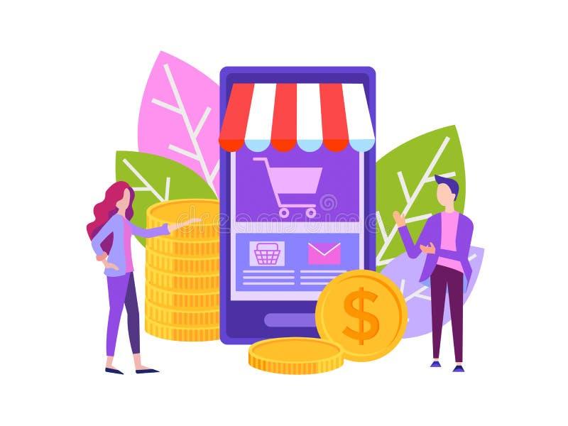 Concetto di affari, deposito online, comprante e vendente royalty illustrazione gratis