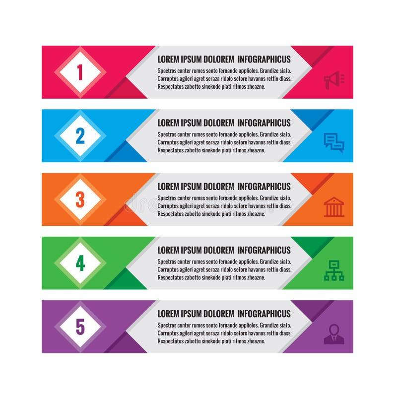 Concetto di affari di Infographic - insegne orizzontali colorate di vettore Modello di Infographic Elementi di progettazione di I illustrazione vettoriale