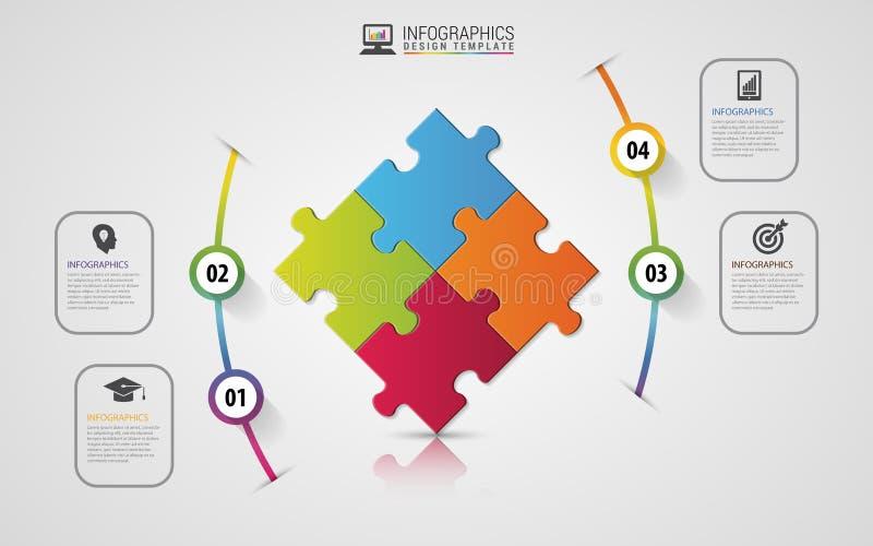 Concetto di affari di infographics del pezzo di puzzle Modello di disegno moderno Vettore illustrazione di stock