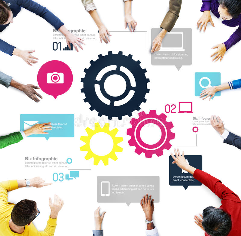 Concetto di affari di Team Teamwork Cog Functionality Technology fotografie stock