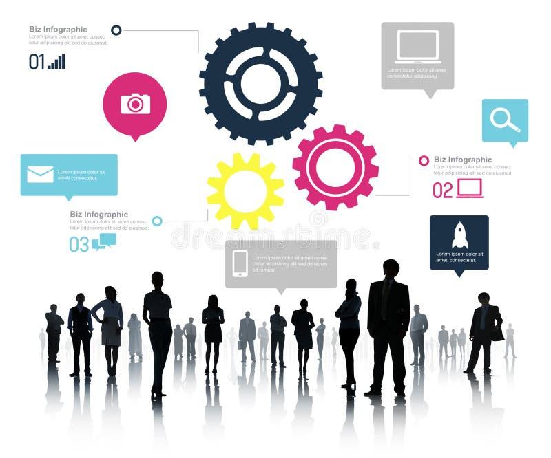 Concetto di affari di Team Teamwork Cog Functionality Technology illustrazione vettoriale