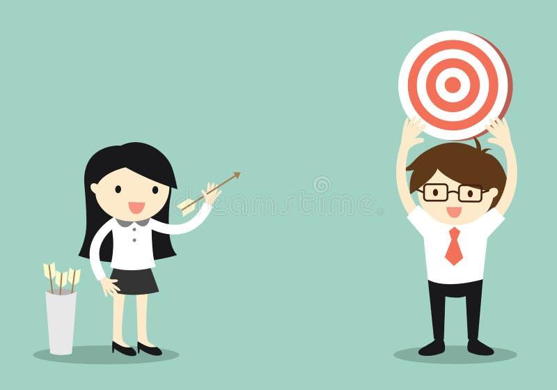 Concetto di affari, donna di affari che spara l'obiettivo illustrazione di stock