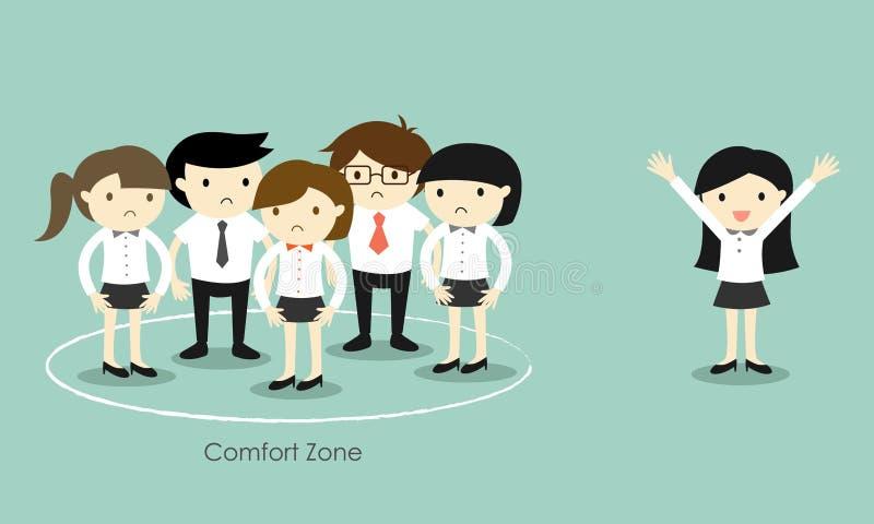 Concetto di affari, donna di affari che sta dalla zona di comodità illustrazione vettoriale