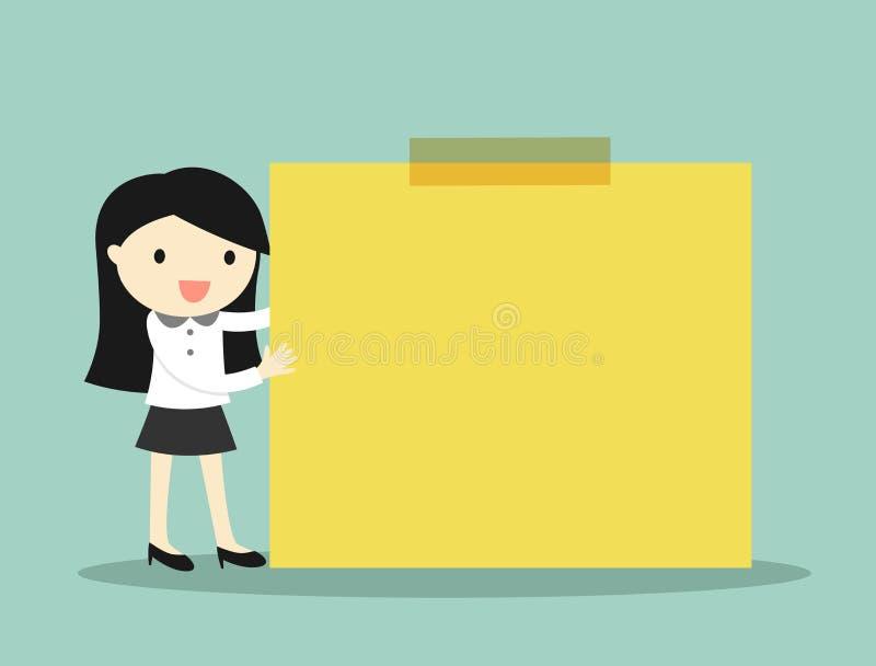 Concetto di affari, donna di affari che tiene nota appiccicosa gialla con fondo verde illustrazione vettoriale