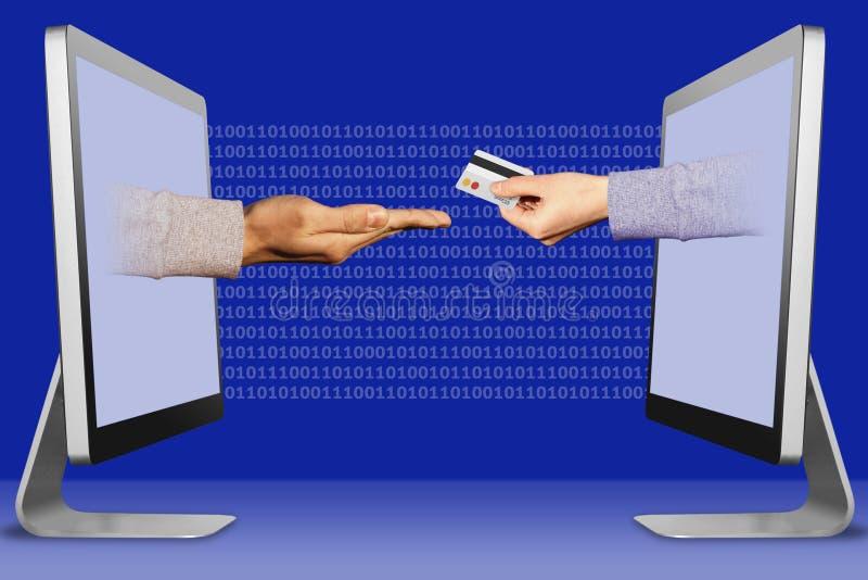 Concetto di affari, due mani dalle esposizioni supplica gesto e della mano con la carta di credito illustrazione 3D immagine stock