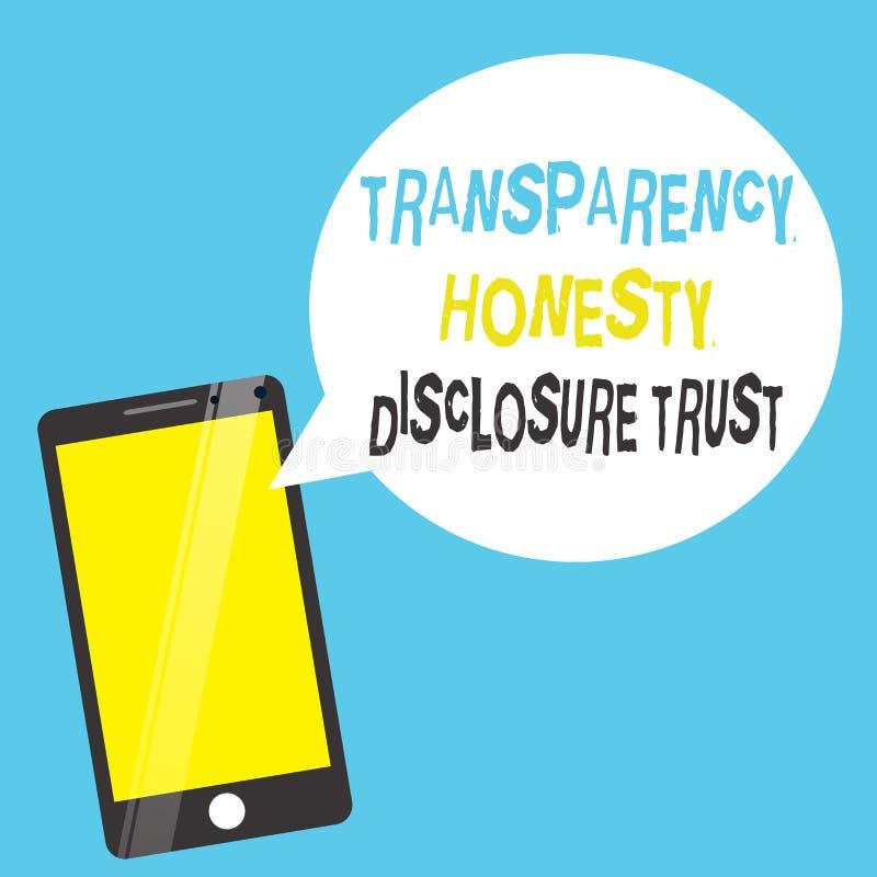 Concetto di affari di fiducia di rivelazione di onestà della trasparenza di testo di scrittura di parola per la volontà corporati illustrazione di stock