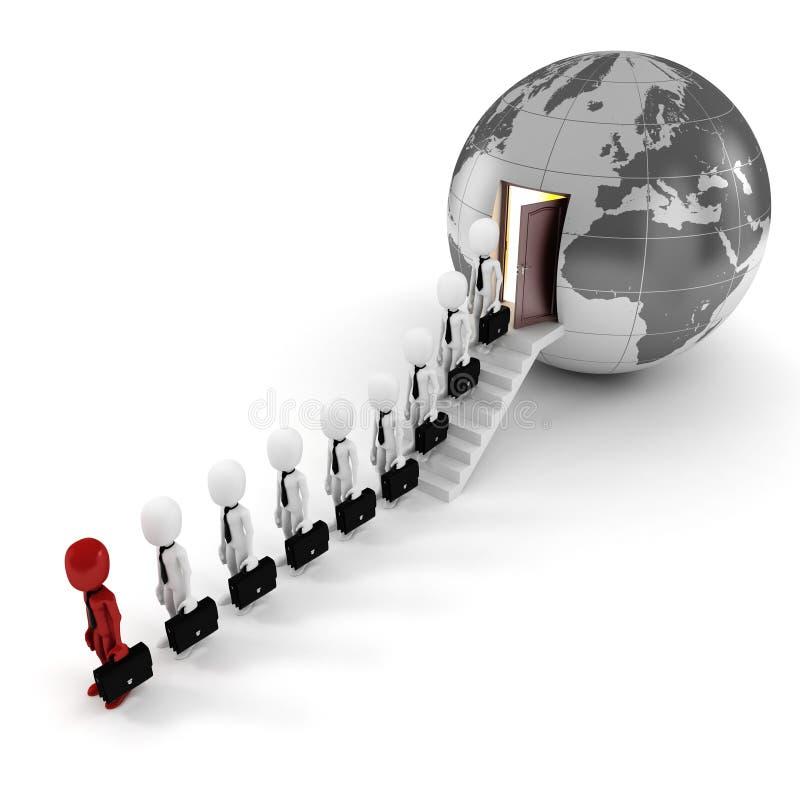 concetto di affari globali dell'uomo 3d illustrazione di stock