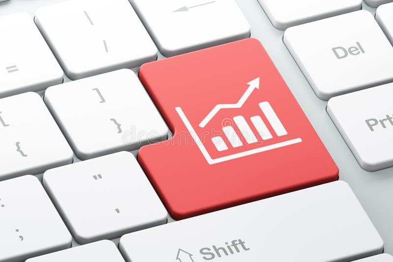 Concetto di affari: Grafico di crescita sul fondo della tastiera di computer illustrazione vettoriale