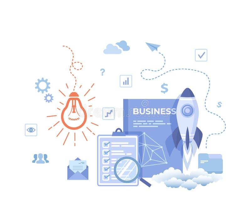Concetto di affari di idea, partenza di progetto, pianificazione finanziaria, strategia, realizzazione e successo Lampadina, lanc illustrazione vettoriale