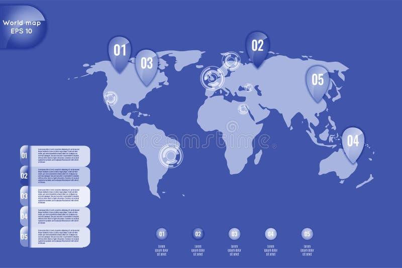 Concetto di affari Insieme della mappa di mondo infographic degli elementi, insegne per le opzioni, parti o punti Può essere usat illustrazione vettoriale