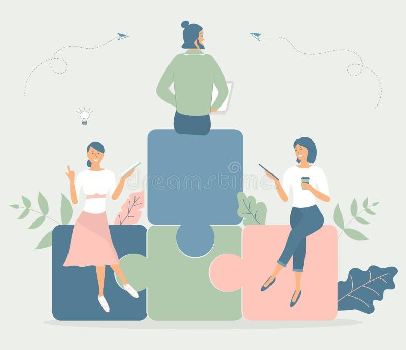 Concetto di affari, metafora del gruppo: la gente si siede sui puzzle, ha letto il libro, lavoro sulla compressa, taccuino, ha ta illustrazione di stock