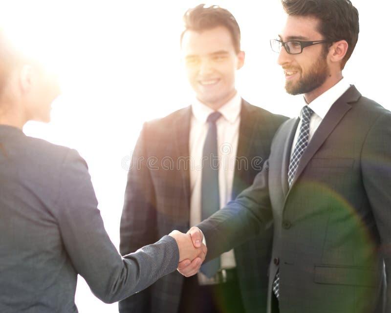 Concetto di affari partner finanziari della stretta di mano immagini stock
