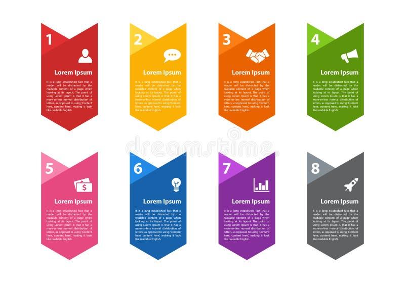 Concetto di affari di progettazione di Infographic con 8 punti royalty illustrazione gratis