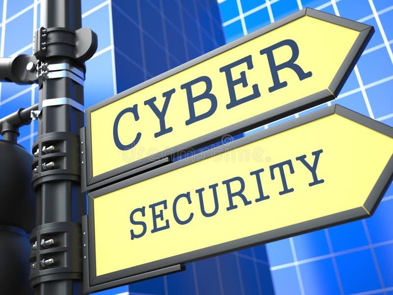 Concetto di affari. Sicurezza cyber Roadsign. illustrazione di stock