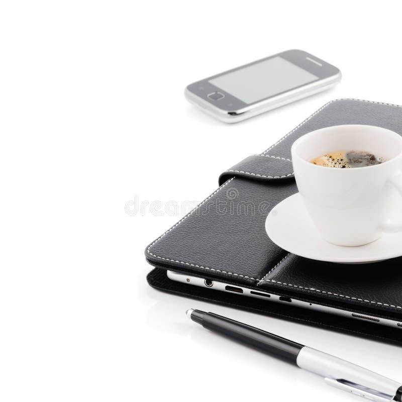 Concetto di affari. Tazza di caffè di mattina fotografia stock
