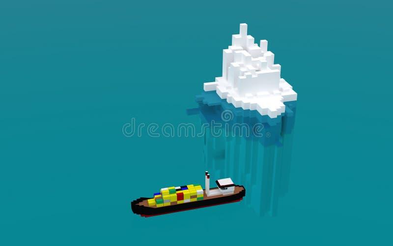 Concetto di affari, una parte nascosta dell'iceberg dei problemi, molto pi? visibile sul modo di raggiungere lo scopo, illustrazione di stock