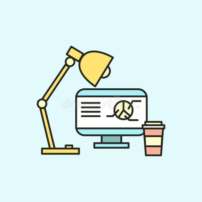 Concetto di affari Vector il posto di lavoro dell'icona dell'illustrazione con progettazione piana del computer royalty illustrazione gratis