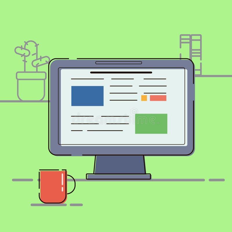 Concetto di affari Vector il posto di lavoro dell'icona dell'illustrazione con progettazione piana del computer illustrazione di stock