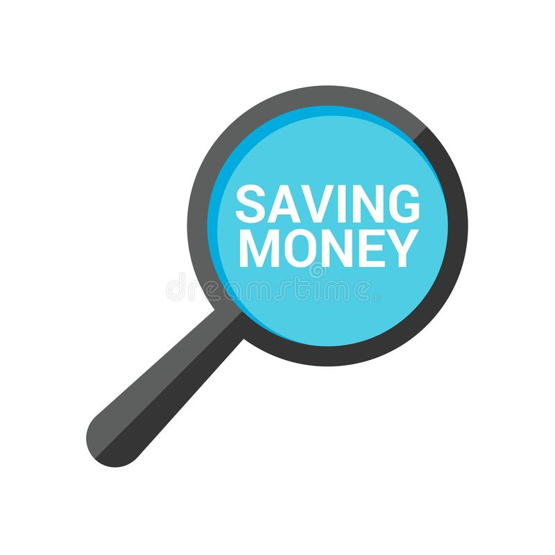 Concetto di affari: Vetro ottico d'ingrandimento con le parole che risparmiano soldi illustrazione vettoriale