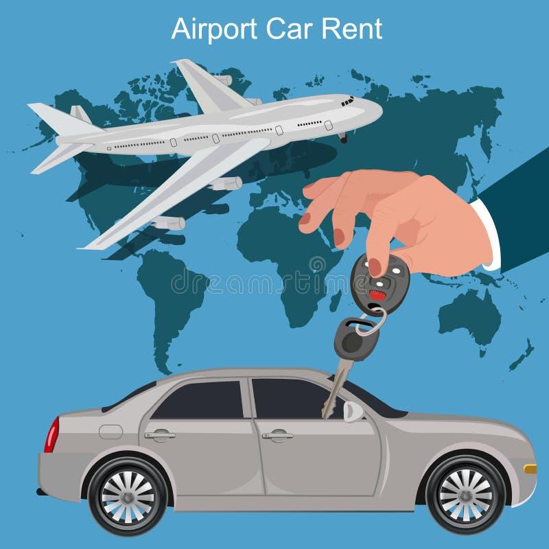 Concetto di affitto dell'automobile dell'aeroporto, illustrazione di vettore illustrazione di stock