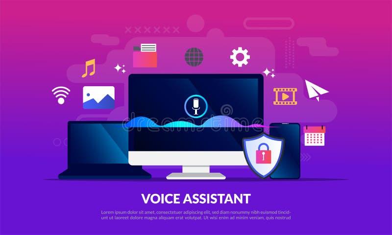 Concetto di aiuto di voce, schermo di computer con le tecnologie intelligenti dell'onda sonora, tecnologia per riconoscimento di  illustrazione vettoriale