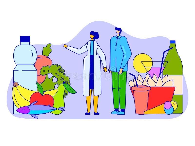 Concetto di alimentazione sano, nutrizionista raccomanda una dieta alimentare equilibrata per le persone, illustrazione vettorial illustrazione vettoriale