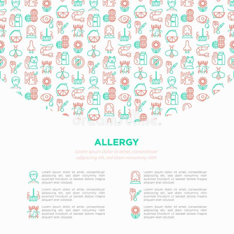 Concetto di allergia con la linea sottile icone: naso semiliquido, polvere, intolleranza al lattosio, agrume, frutti di mare, glu illustrazione vettoriale