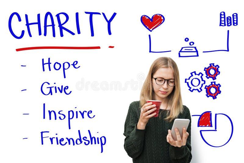 Concetto di amicizia di ispirazione di speranza di elasticità di carità immagini stock
