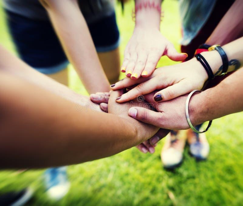 Concetto di amicizia di Team Teamwork Relation Together Unity immagine stock