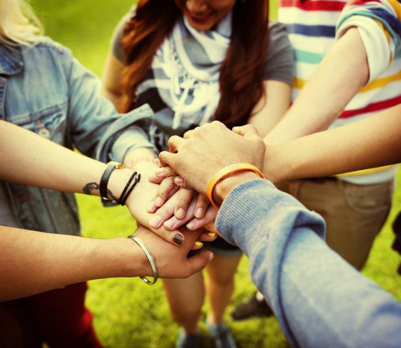 Concetto di amicizia di Team Teamwork Relation Together Unity fotografie stock