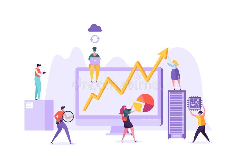 Concetto di analisi di dati di gestione Strategia di marketing, analisi dei dati con i caratteri della gente che analizzano i dat illustrazione vettoriale