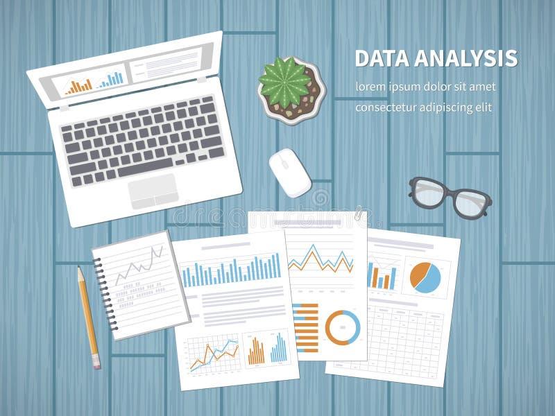 Concetto di analisi dei dati Contabilità, analisi dei dati, analisi, rapporto, ricerca, pianificazione Verifica finanziaria, anal illustrazione vettoriale