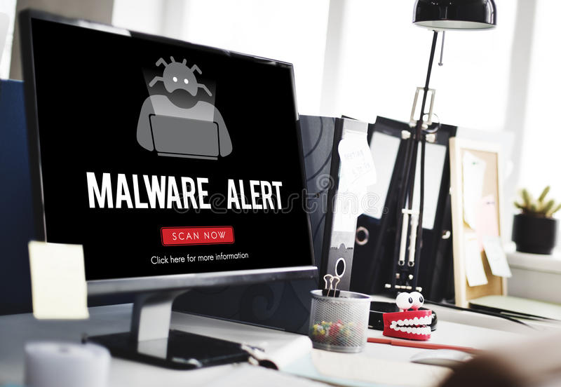 Concetto di antivirus di malware di spyware del virus di Scam immagine stock