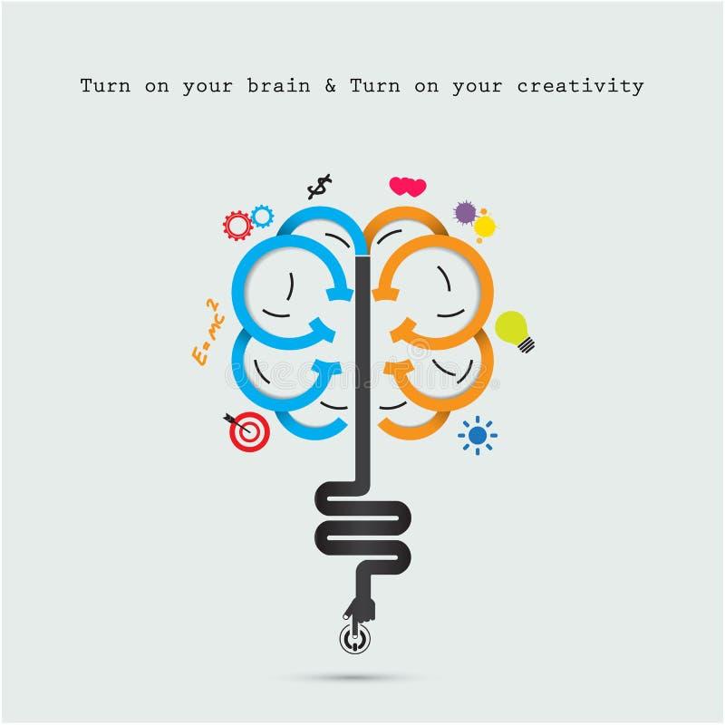 Concetto di apertura del cervello Progettazione creativa di logo di vettore dell'estratto del cervello illustrazione di stock