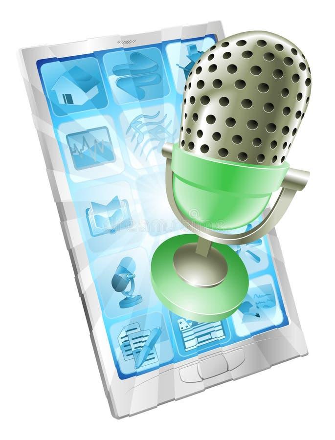 Concetto di app del telefono del microfono illustrazione di stock