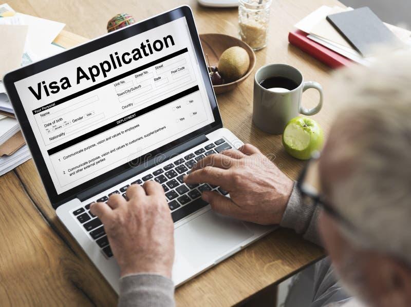 Concetto di applicazione del modulo di iscrizione di visto fotografie stock