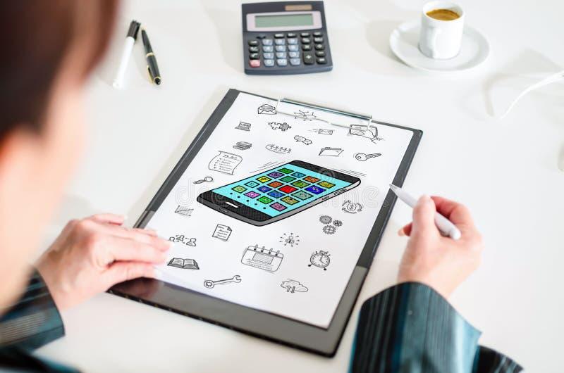 Concetto di Apps su una lavagna per appunti fotografie stock