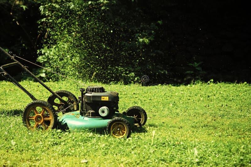 Concetto di architettura e di abbellimento del pæsaggio Falciatrice da giardino su erba verde il giorno soleggiato nello sfondo n fotografia stock