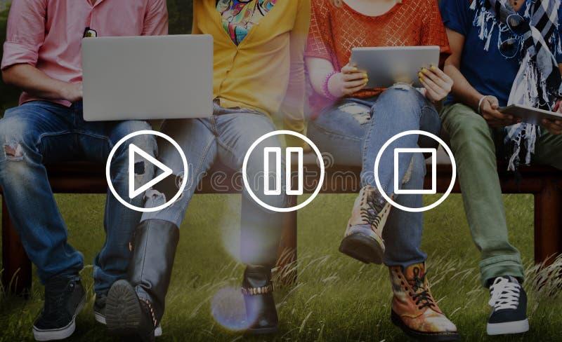 Concetto di arresto di pausa del gioco di multimedia dei bottoni fotografia stock libera da diritti