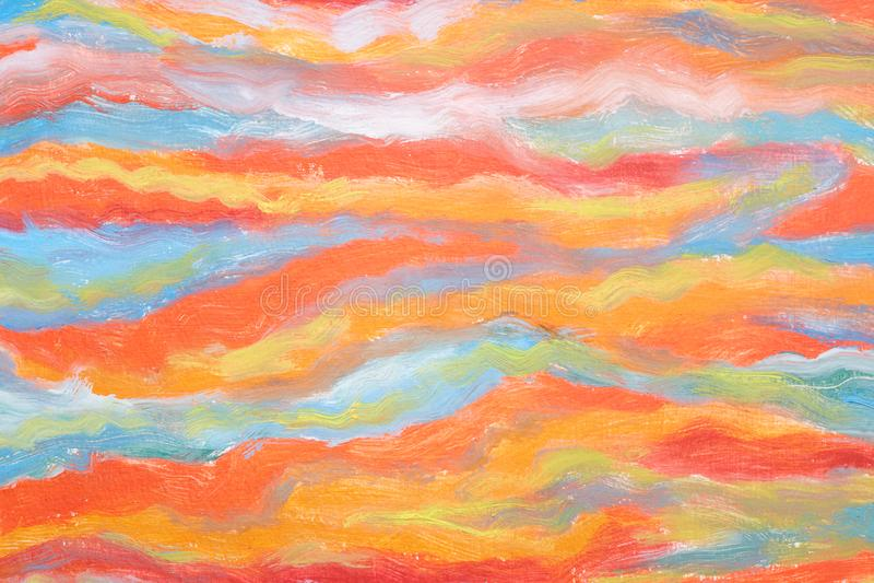 Concetto di arte moderna Pennellate di pittura L'orizzontale ha sottratto le onde colourful Capolavoro reale dell'artista di tale royalty illustrazione gratis