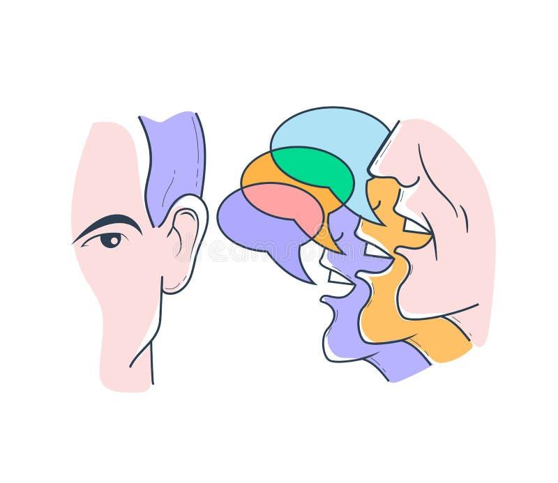 Concetto di ascoltare le opinioni differenti illustrazione di stock