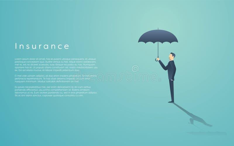 Concetto di assicurazione in caso di morte dei dirigenti con il simbolo di vettore dell'uomo d'affari e dell'ombrello Spazio dell illustrazione vettoriale