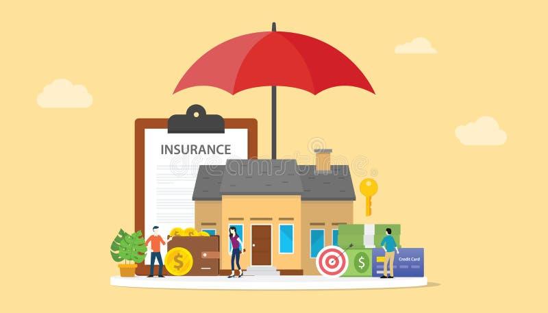 Concetto di assicurazione della Camera con il capitolato d'oneri della carta e della casa con i certi soldi e finanza - vettore illustrazione di stock