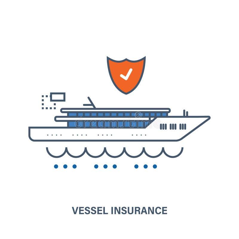 Concetto di assicurazione della nave Illustrazione piana di vettore illustrazione di stock