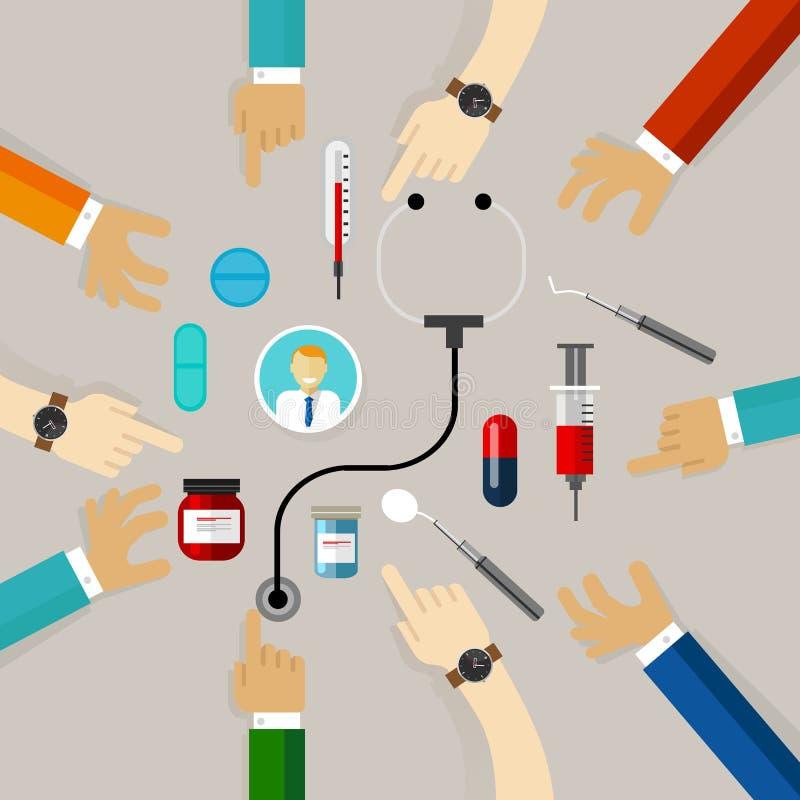 Concetto di assicurazione di trattamento medico di ciao protezione del problema di salute insieme dalla comunità illustrazione di stock