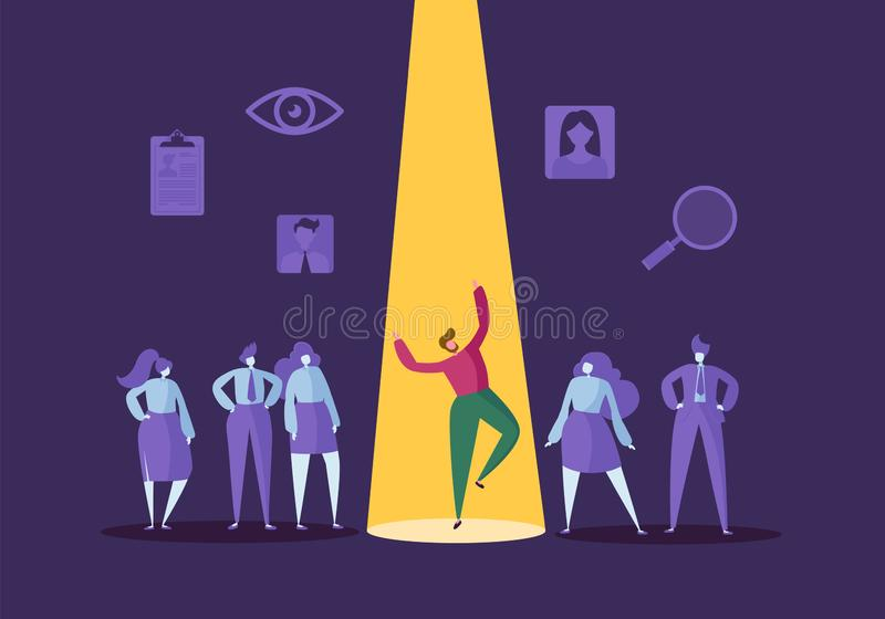 Concetto di assunzione di affari con i caratteri piani Datore di lavoro che sceglie uomo dal gruppo di persone Assumendo, risorse illustrazione vettoriale