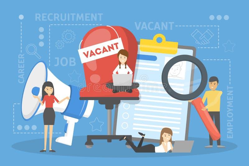 Concetto di assunzione Idea di occupazione e dell'essere umano illustrazione di stock