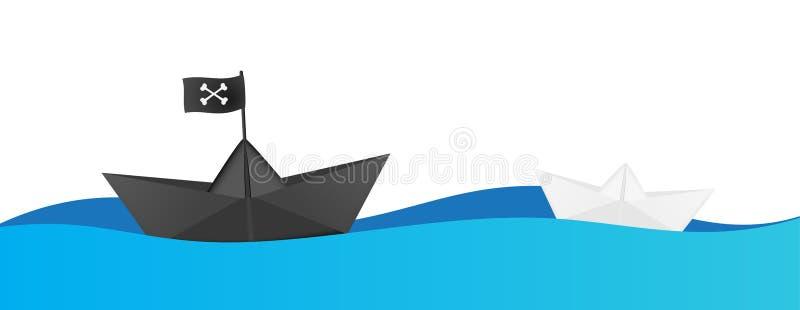 Concetto di attacco della nave di pirata Nave di carta in bianco e nero Illustrazione di vettore illustrazione di stock