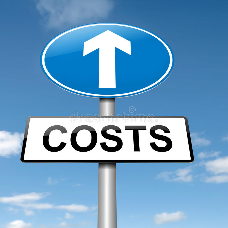Concetto di aumento di costo. royalty illustrazione gratis