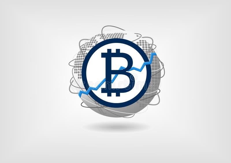 Concetto di aumento e di crescita di Bitcoin a titolo dimostrativo illustrazione di stock